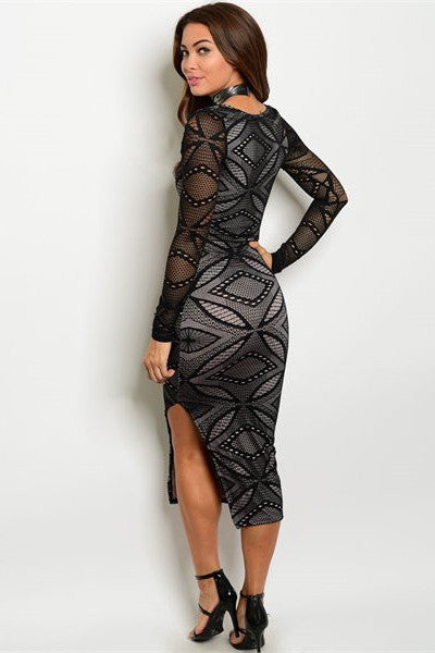 Lace Bodycon Dress - Black