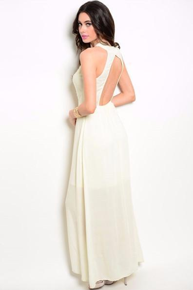Contemporary Embellished Maxi Dress - Cream