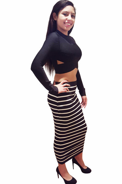 Striped Bandage Dress - Two Piece