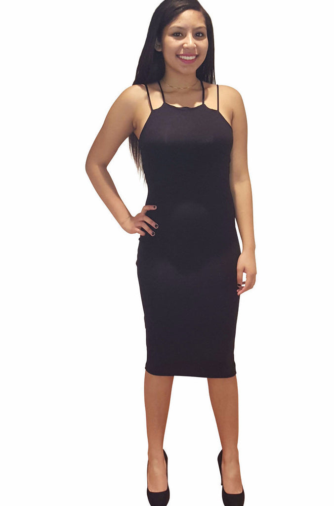 Cross Back Midi Dress - Black