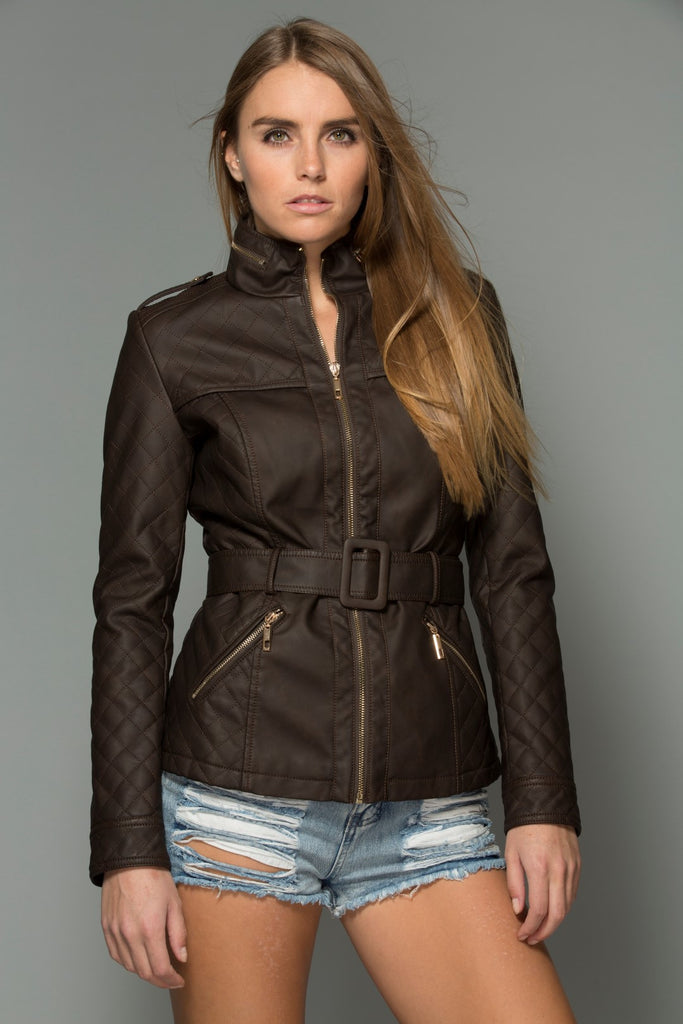 Belted Vegan Leather Jacket - Coffee