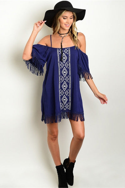 Embroidered Fringe Dress - Navy