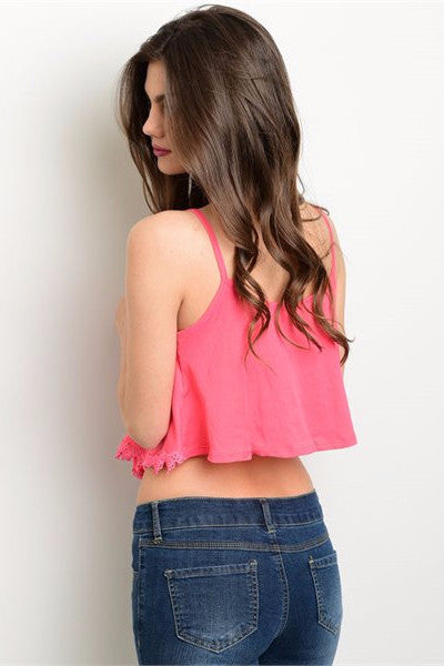 Embroidered Trim Crop Top - Coral