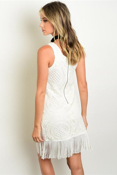 Fringe Hem Bodycon Dress - Ivory
