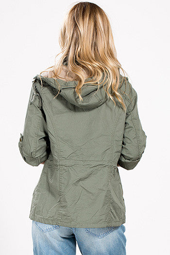 Hooded Utility Jacket - Olive