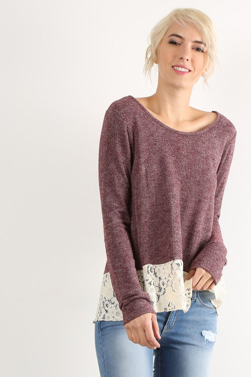 Lace Contrast Knit Top - Burgundy