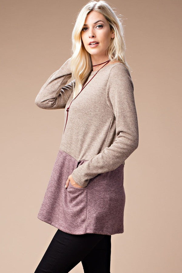 Heavy Knit Top - Mauve