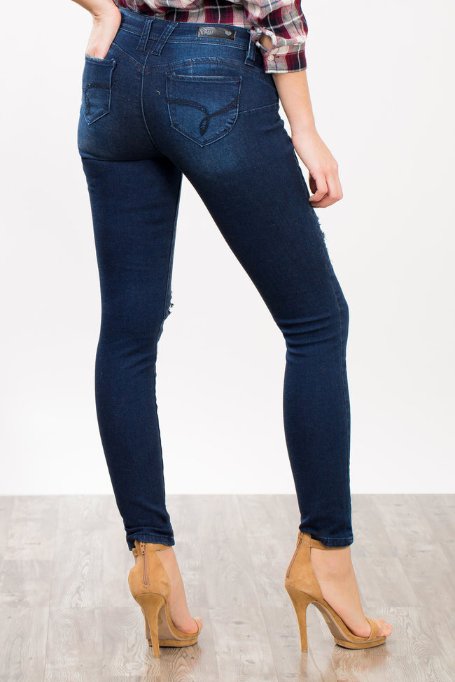 Distressed Edgy Skinny Jeans