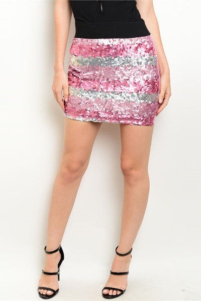Sequin Mini Skirt - Pink