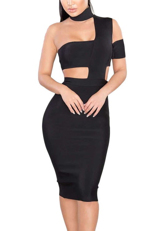 Chocker Cut Out Bandage Dress - Black