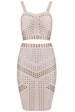 Studded Two Piece Bandage Dress - Nude