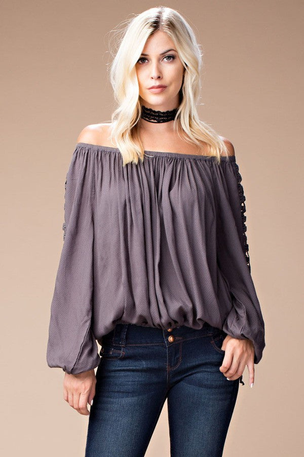Crochet Lace Sleeves Top - Grey