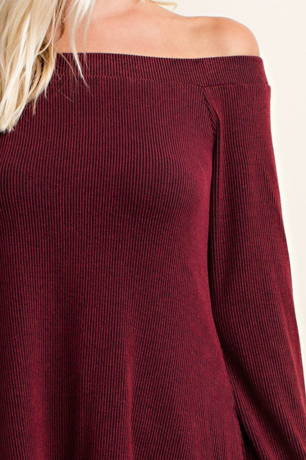 Off The Shoulder Top - Burgundy