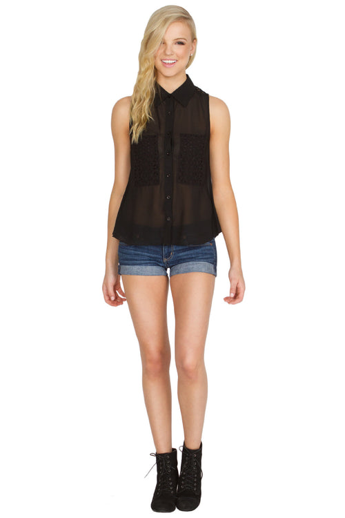 Dark Eyelet Sleeveless Top