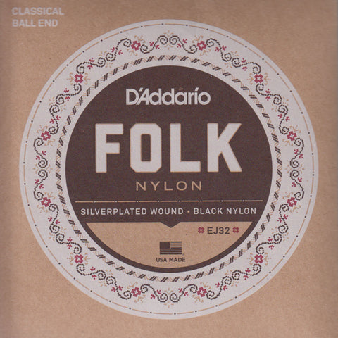 Image of D'Addario / Folk Nylon Ball End / Silverplated Wound - Black Nylon (EJ-32)