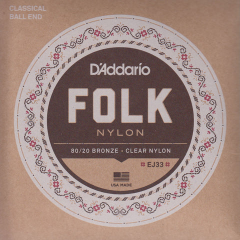 Image of D'Addario / Folk Nylon Ball End / 80-20 Bronze - Clear Nylon (EJ-33)