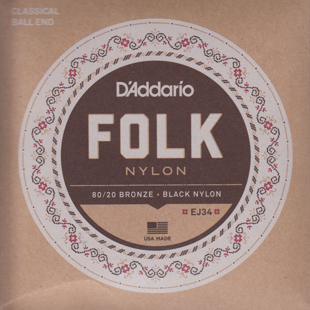 Image of D'Addario / Folk Nylon Ball End / 80-20 Bronze - Black Nylon (EJ-34)