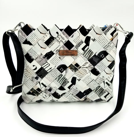 """SERENA"" Messenger & Cross Body Bag Black&White - By Hands from Claudia"