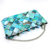 """IRIS"" Purse with Silver Chain Turquoise - By Hands from Claudia"