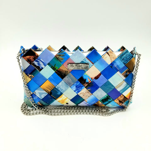 """IRIS"" Purse with Silver Chain Blue - By Hands from Claudia"