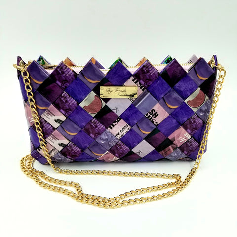 """IRIS"" Purse with Gold Chain-Purple - By Hands from Claudia"