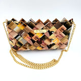 """IRIS"" Purse with Gold Chain-Brown - By Hands from Claudia"