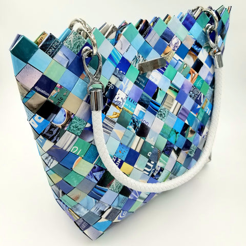 """MARA"" Handmade Magazine Tote Bag Blue - By Hands from Claudia"
