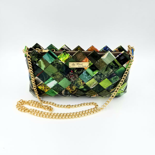"""IRIS"" Purse with Gold Chain Green - By Hands from Claudia"