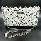 """IRIS"" Purse with Silver Chain Black&White Writing - By Hands from Claudia"