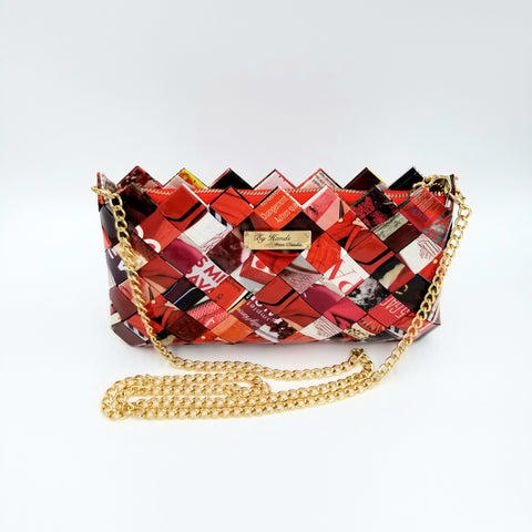 """IRIS"" Purse with Gold Chain Red - By Hands from Claudia"