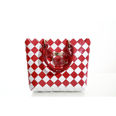 """CLARA"" Unique Handmade Handbag Red&White - By Hands from Claudia"