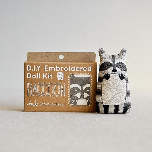D.I.Y. Embroidered Doll Kit - Raccoon