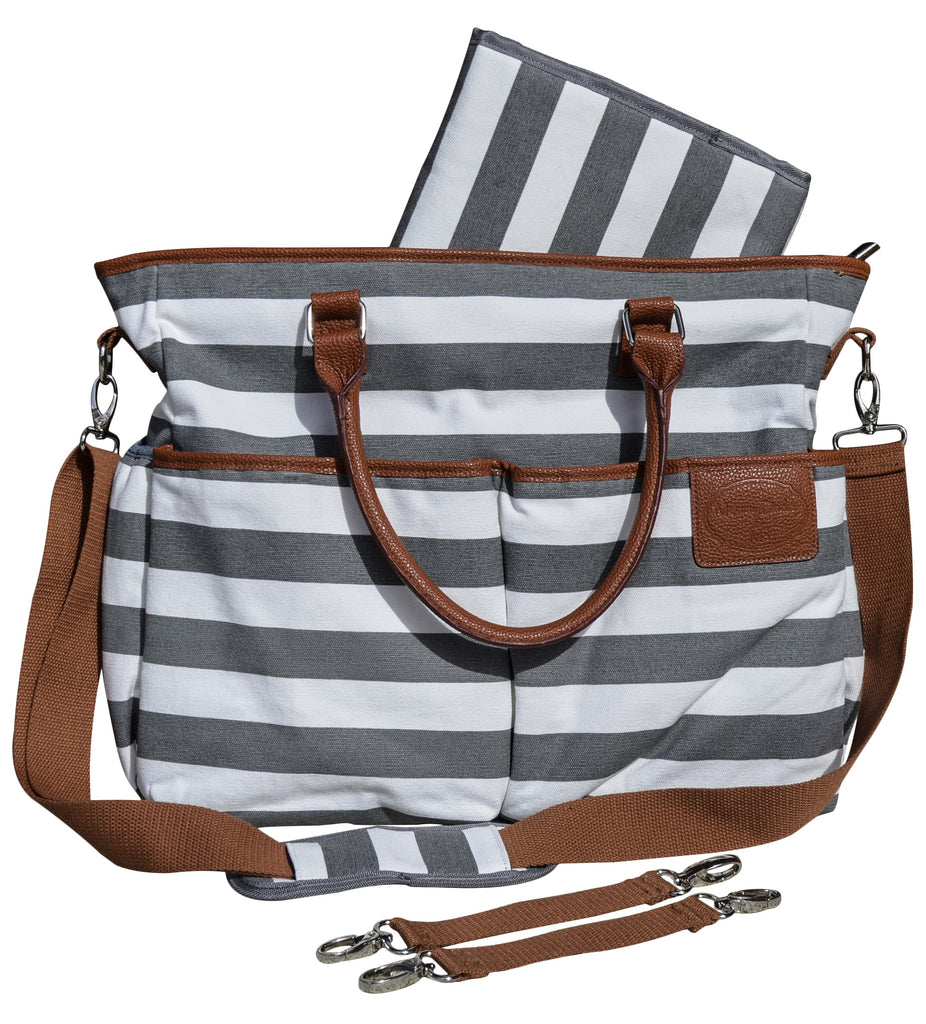 32c1a09ec05ed Diaper Bag for Stylish Moms, Grey/White, Premium Cotton Canvas Tote Ba –  MommyDaddy&Me LLC
