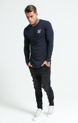 Sik Silk - Long Sleeve Gym Tee - Navy