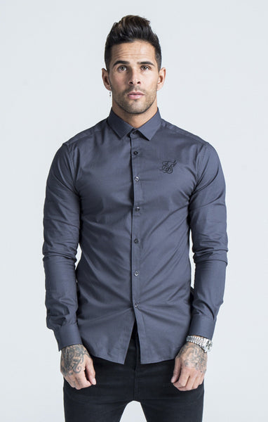 Sik Silk - Cotton Stretch Shirt - Dark Grey