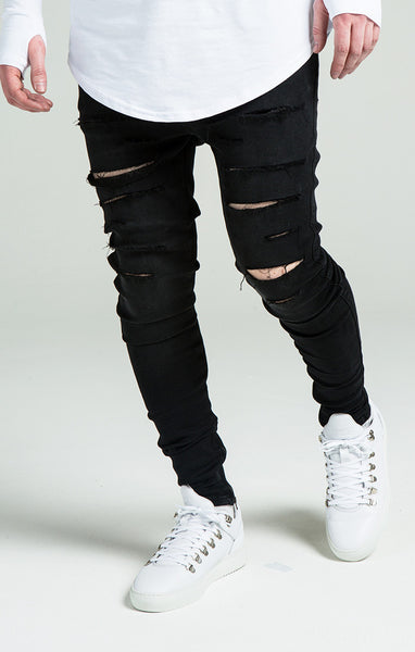 Sik Silk - Washed Distressed Ripped - Black