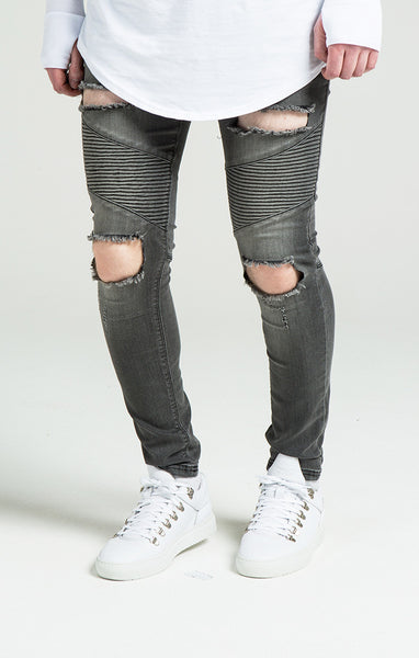 Sik Silk - Extreme Biker Skinny - Washed Black