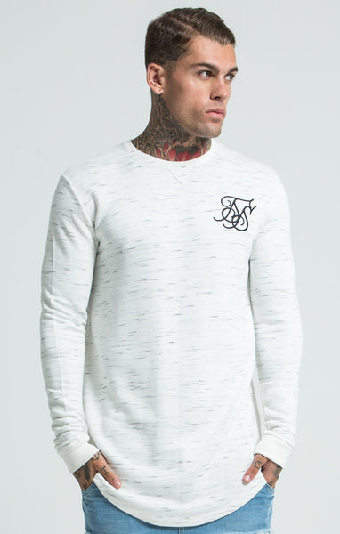 Sik Silk - Space Dye Curved Hem Sweat - White & Black