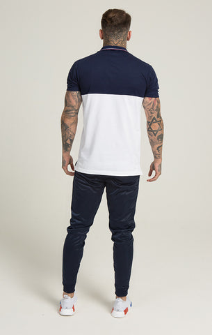 Illusive London - Retro Fitted Polo -Navy/White