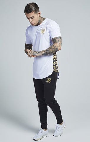 Sik Silk - Venetian Curved Hem Slide Tee - White & Gold