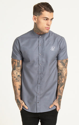 Sik Silk - Grandad Collar S/S Shirt - Grey
