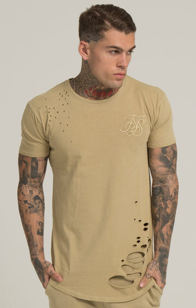 Sik Silk - Destroyed Curved Hem Tee - Sand