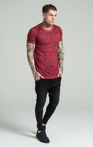 Sik Silk - Burn Out Oil Dye Vent Tee - Burgundy