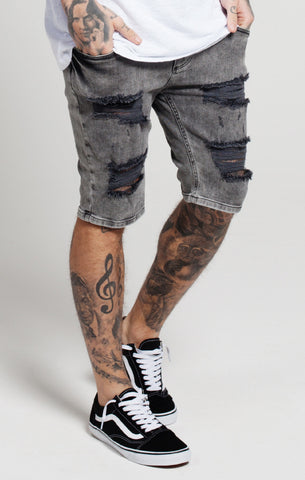 Sik Silk -  Distressed Denim Shorts - Black Snow Wash