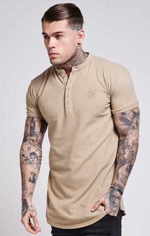 Sik Silk - Collarless Polo Shirt T-Shirt - Sand