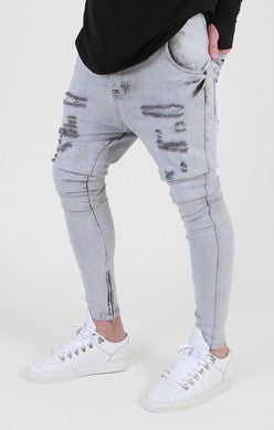 Snow Wash Ripped Hareem Denim - Blue