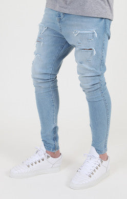 Sik Silk - Ripped Hareem Denim - Blue