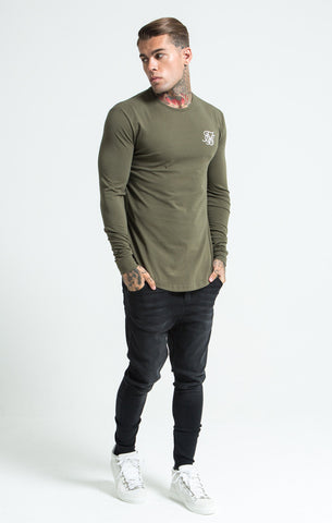 Sik Silk - Long Sleeve Gym Tee - Khaki