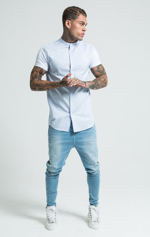 Sik Silk - Grandad Collar Fitted Shirt - Pale Blue