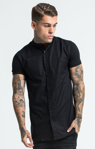 Sik Silk - Grandad Collar Jersey Sleeve Shirt - Black